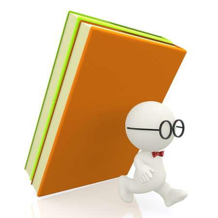 atacaba: 3D nerd de ser atacado por los libros - aislados en un fondo blanco Foto de archivo