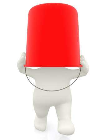 scared man: 3D man with a bucket on his head - isolated over white background  Stock Photo