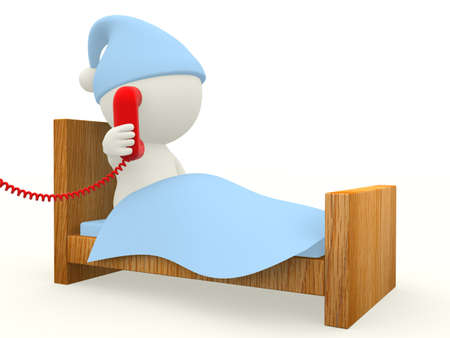 emergency call: 3D man calling from a telephone from bed  - isolated over white background