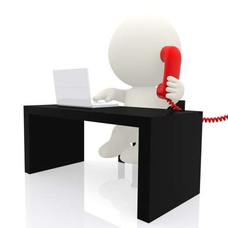 calling on phone: 3d businessman on the phone  - isolated over a white background