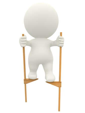zancos: 3D hombre caminando sobre zancos - aislados en un fondo blanco