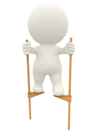 3D man walking on stilts - isolated over a white background photo