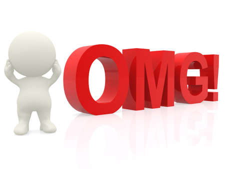 3D suprised man - OMG expression isolated over a white background photo