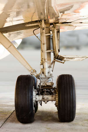undercarriage: Close up of an airplane undercarriage or landing gear