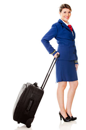 air hostess: Air hostess with a bag - isolated over a white background