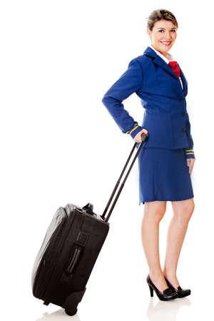hotesse de l air: Hôtesse de l'air avec un sac - isolé sur un fond blanc Banque d'images