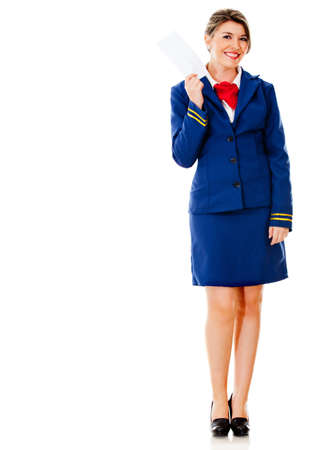 air hostess: H�tesse de l'air possession d'un billet - isol� sur un fond blanc Banque d'images