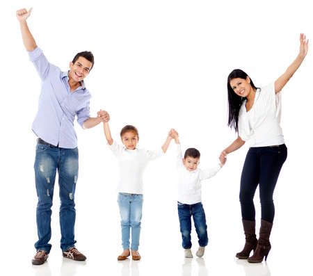 latin family: Happy family with arms up - isolated over a white background Stock Photo