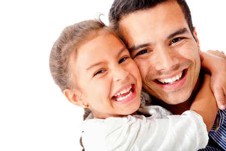 Happy father and daughter smiling - isolated over a white background photo