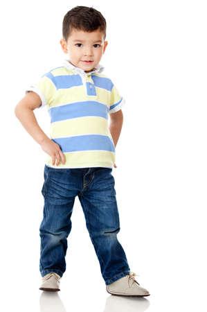 bambin: Jeune gar�on posant - isol� sur un fond blanc Banque d'images