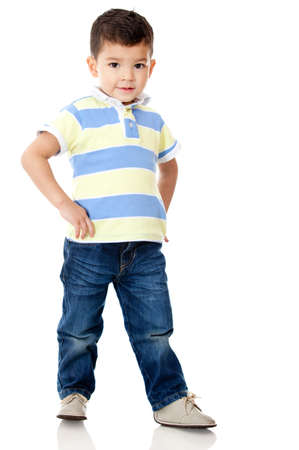 hispanic children: Young boy posing - isolated over a white background Stock Photo
