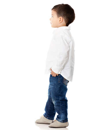 Little boy looking up - isolated over a white background Stock Photo - 12824589
