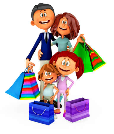 3D family holding shopping bags - isolated over a white background photo
