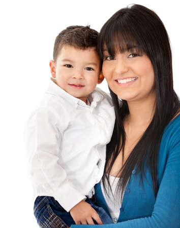 single moms: Beautiful portrait of a mother and son smiling - isolated over a white background