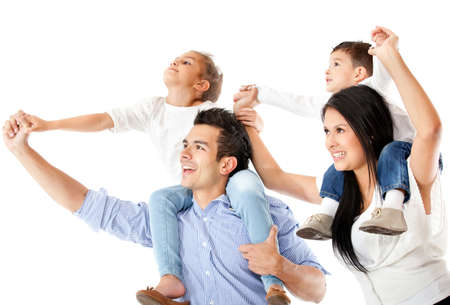 family latin: Father and mother carrying children in shoulders - isolated over a white background