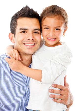papa: Heureux p�re avec sa fille - isol� sur un fond blanc Banque d'images