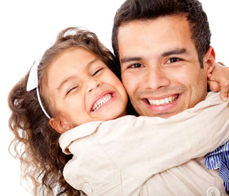 Girl hugging her father - isolated over a white background photo