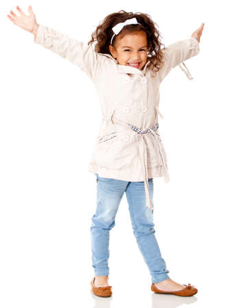 Happy girl with arms up - isolated over a white background  Stock Photo - 12824527
