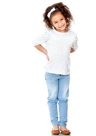 persona de pie: Ni�a t�mida posando - aislado sobre un fondo blanco