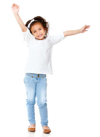 Excited girl with arms up smiling - isolated over a white background  Stock Photo - 12824559