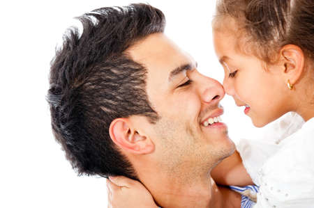 Affectionate girl with her father - isolated over a white background photo