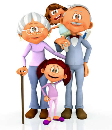 3D kids with grandparents - isolated over a white background photo