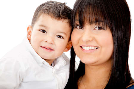 Portrait of a mother carrying her son - isolated over a white background photo