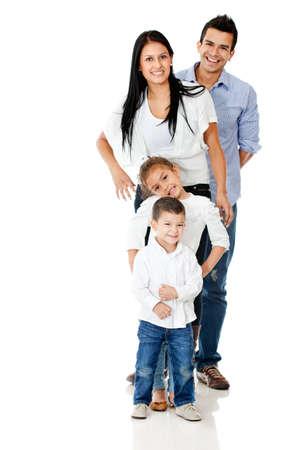 hispanic boy: Happy family smiling - isolated over a white background