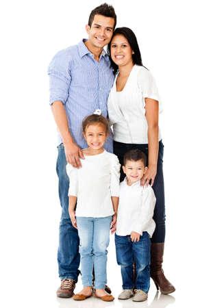hispanic boy: Familia feliz sonriendo - aislados en un fondo blanco