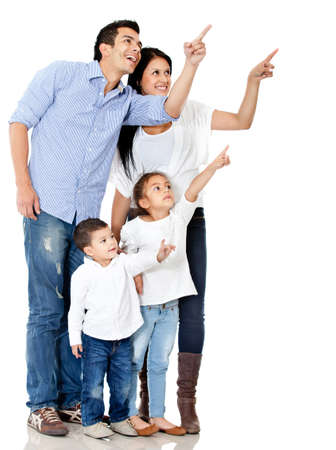 Family pointing with finger - isolated over a white background photo