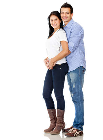 couple amoureux: Loving couple souriant - isol� sur un fond blanc