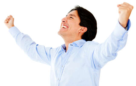 Successful man with arms open - isolated over a white background  photo