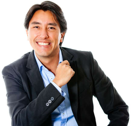 Casual business man smiling - isolated over a white background  photo