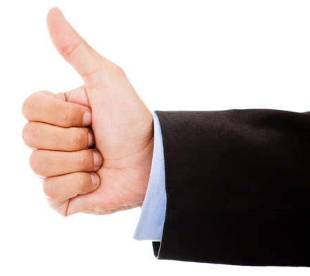 Business hand with thumbs up - isolated over a white background photo