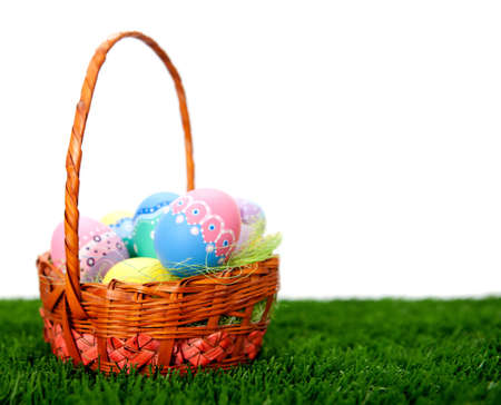 easter basket: Hand painted Easter eggs in a basket  Stock Photo
