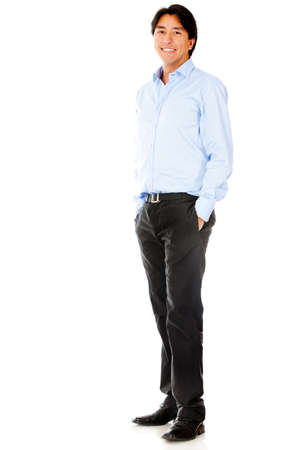standing man: Casual businessman standing - isolated over a white background