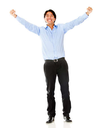 ove: Successful businessman with arms up - isolated ove a white background