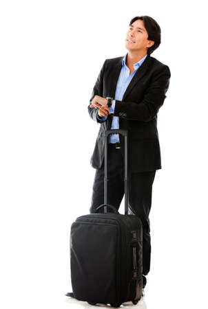 Man going on a business trip with bag - isolated over a white background photo