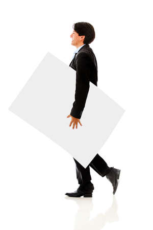 Business man carrying banner - isolated over a white background photo
