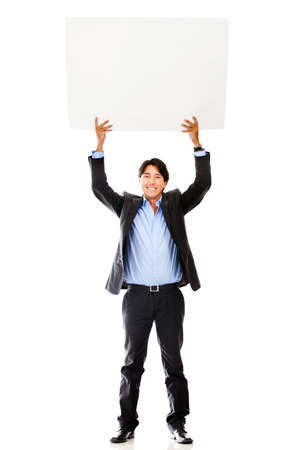 placard: Businessman holding a banner - isolated over a white background  Stock Photo