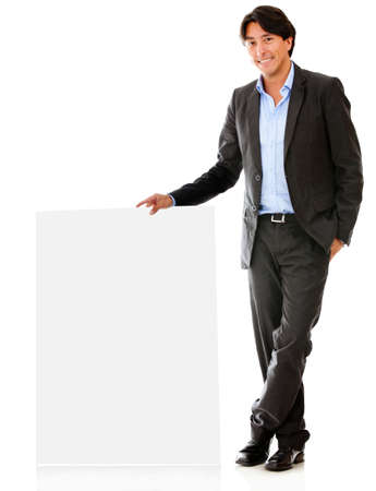 Business man with a banner ad - isolated over a white backround photo