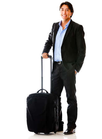 Man going on a business trip with bag - isolated over white background photo