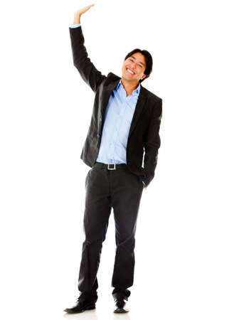 with raised: Businessman raising his hand - isolated over a white background