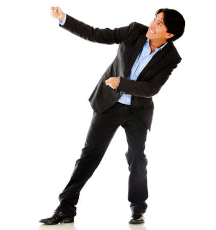 Business man pulling a rope - isolated over a white background  photo