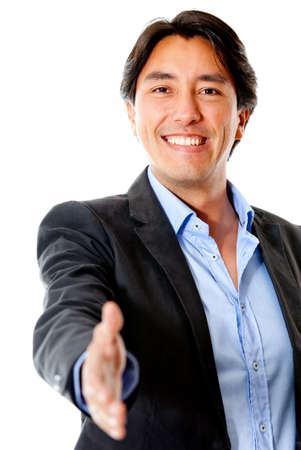 Business man ready to handshake - isolated over a white background photo