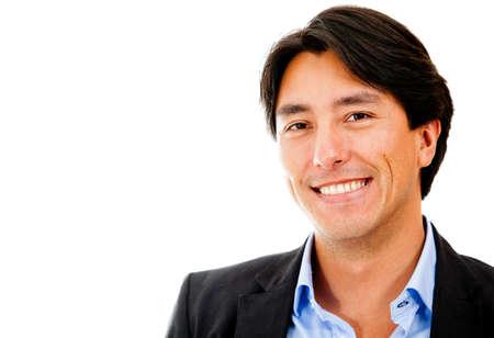 persona feliz: Retrato de un hombre de negocios sonriendo - aislados en un fondo blanco