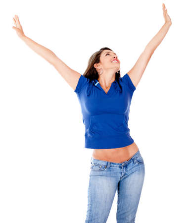 Relaxed woman with outstretched arms - isolated over a white background photo