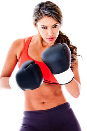 gant blanc: Monter femme de boxe - isol� sur un fond blanc Banque d'images