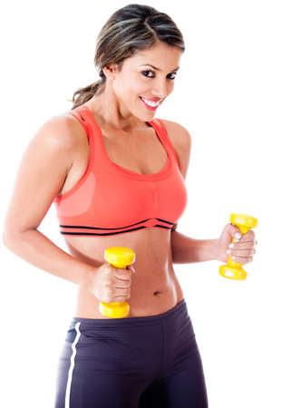 Fit woman lifting weights - isolated over a white background photo