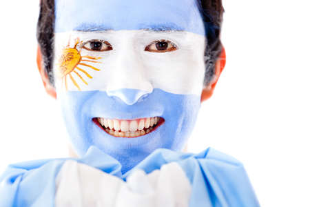 painted face: Man from Argentina with the flag painted on his face � isolated
